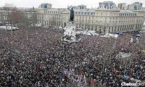 More than 1.5 million people crowded Paris on Sunday to condemn terrorism and anti-Semitism.