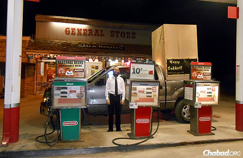 Filling up at the general store.