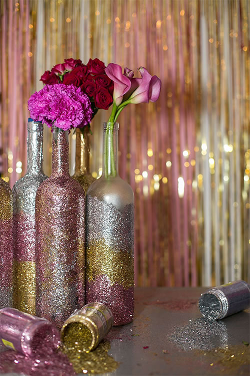 Glitter wine bottle centerpieces home decor crafting for Baby bottle decoration ideas