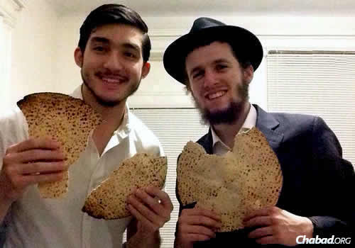 Mendel Kamish, left, and Mendel Rosenberg, yeshivah students in Brooklyn, N.Y., are holding a seder for those in North Miami Beach who have nowhere to go. The two are organizing everything themselves and working to raise funds for the expected 50 participants, so they can come for free.