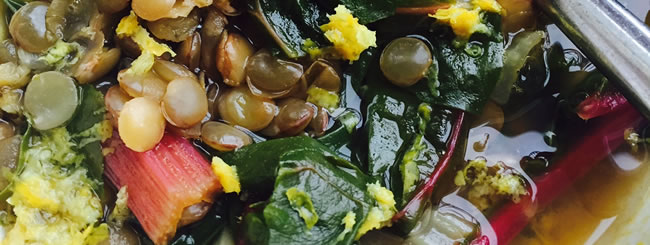 Tzav Recipes: Lemon Lentil-Swiss Chard Soup