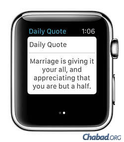 Users of Chabad.org's Jewish watch app will get the added bonus of inspirational quotes.