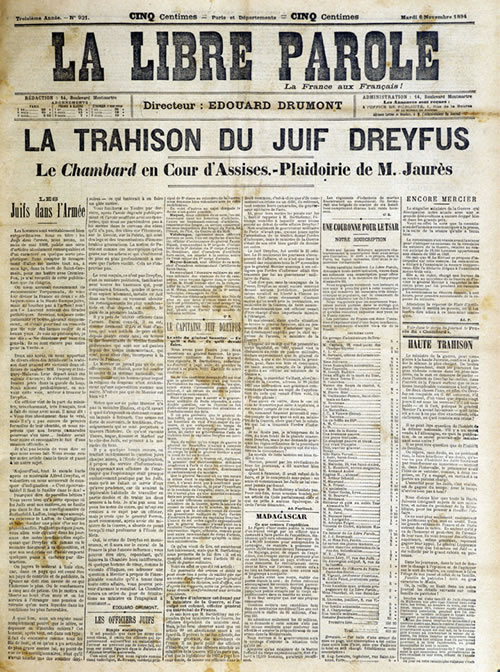 "Anti-Semitic newspaper headline, reads: ""The Treason of the Jewish Dreyfus"""