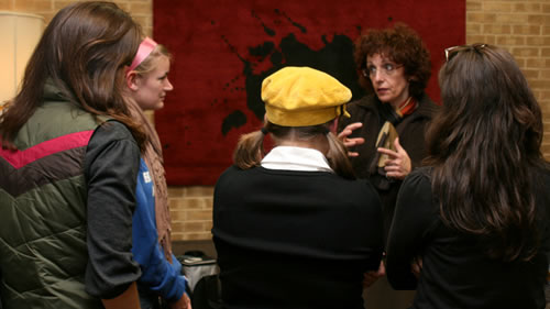 Miriam Grossman with students at a Texas college campus
