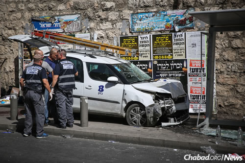 The site where a terrorist rammed his car into pedestrians on Malchei Yisrael Street in Jerusalem. (Photo: Hadas Parush/FLASH90)