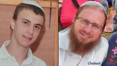 Rabbi Yaakov Litman, 40, right, and his son Netanel, 18