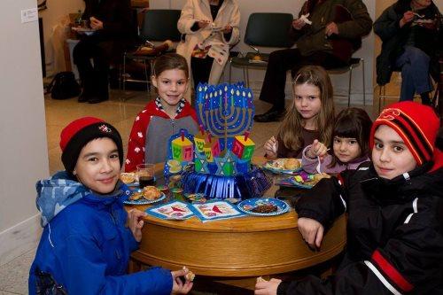These kids in Regina, Saskatchewan, Canada, were glad to get indoors to warm up and enjoy some Chanukah treats.