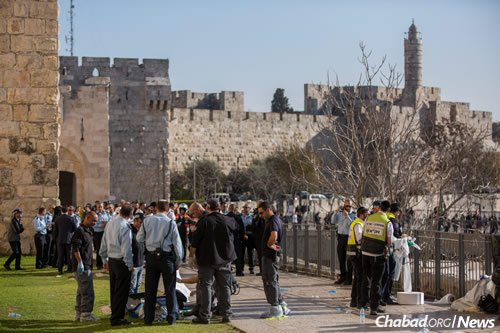 Two men were killed and a third wounded in a terrorist stabbing attack outside the Jaffa Gate entrance to the Old City in Jerusalem. (Photo: Yonatan Sindel/Flash90)