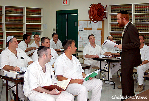 Rabbi Dovid Goldstein—director of Chabad-Lubavitch of West Houston, associate director of Chabad Outreach in Houston and the lead Jewish chaplain in the Texas prison system—leads a ''shiur,'' a lesson, in the Jewish-enhanced program at the Stringfellow Unit, a Texas Department of Criminal Justice prison located in Rosharon, Brazoria County, Texas.