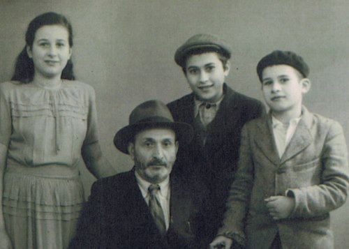 The author with her father and brothers in France, on their way to the U.S. (Photo courtesy of the author)