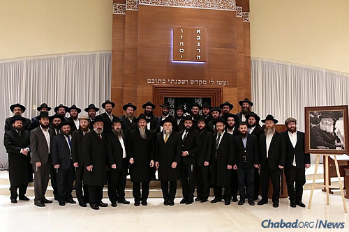 A group shot at the gathering of Moscow Chabad center directors last month in Zhukovka.