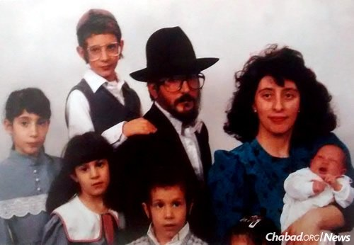 A family photo: The Scheiman home was always open, especially for those the rabbi was helping reintegrate back into society.