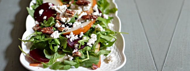 Cook It Kosher: Arugula Salad, with Beets, Pear, Feta & Pecans