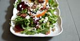 Arugula Salad, with Beets, Pear, Feta & Pecans