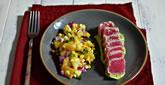 Seared Tuna with Avocado Puree & Charred Corn Salsa