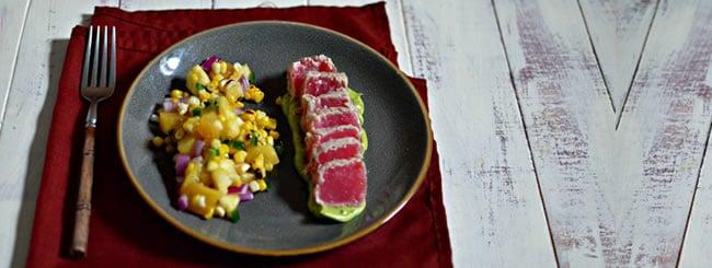 Cook It Kosher: Seared Tuna with Avocado Puree & Charred Corn Salsa