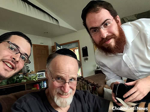 From left: Rabbi Levertov, David and Rabbi Treitel immediately following the impromptu bar mitzvah they celebrated together in Big Lake, Alaska.