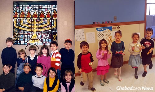 The Litvin children on the left, circled, at Gan Torah Preschool in 1996; on the right are the current grandchildren who attend now.