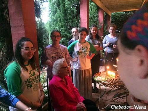 Sharing the lights with residents of all ages in the Australian Outback.
