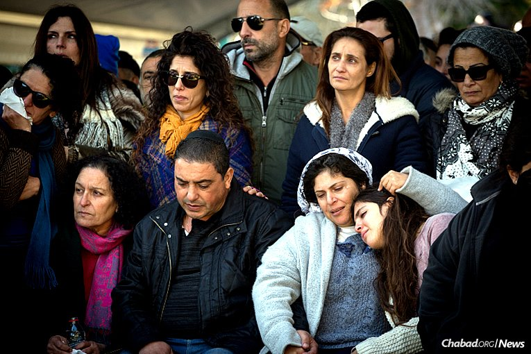 Family and friends mourn at the funeral of 22-year-old Lt. Shir Hajaj, who was one of four young soldiers killed on Sunday afternoon in a terrorist attack in Jerusalem. (Photo: Flash90/Miriam Alster)