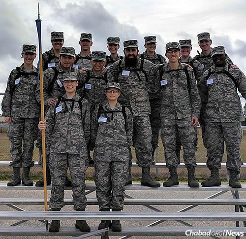 Front and center with airmen after a pennant test for marching in formation
