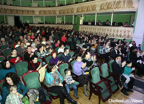 Rabbi Wilhelm, at right, in the front row at an event this past Chanukah in Zhitomir