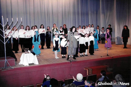 At a Chanukah event in Zhitomir