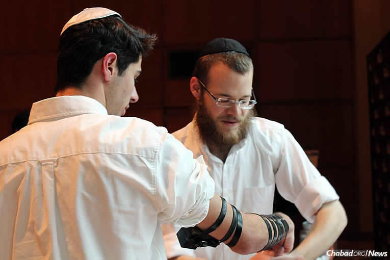 Wrapping tefillin before the start of Shabbat last Friday (Photo: Hannah Geller)
