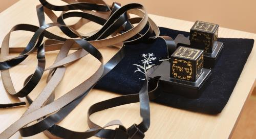 A pair of tefillin still in protective plastic cases on a traditional velvet tefillin bag