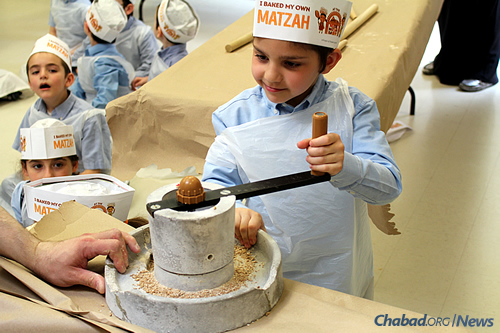 """A """"Matzah Factory Workshop,"""" where kids can observe the process from start to finish."""