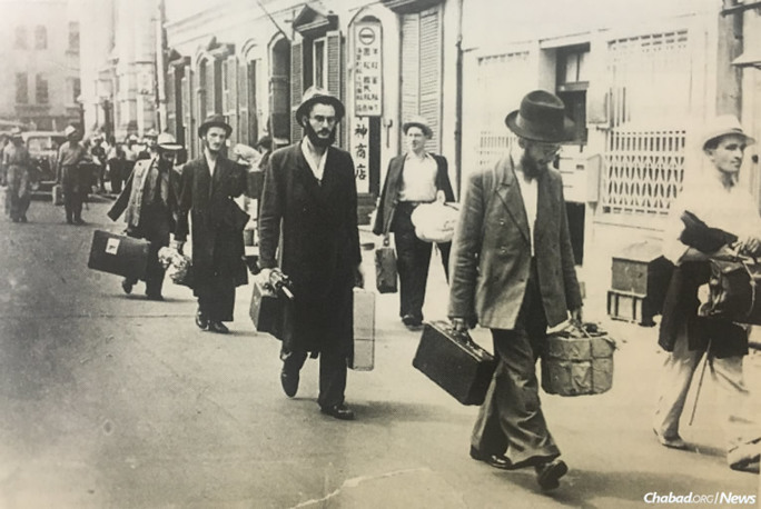 Refugee yeshivah students arrive in 1939 in Shanghai, China.