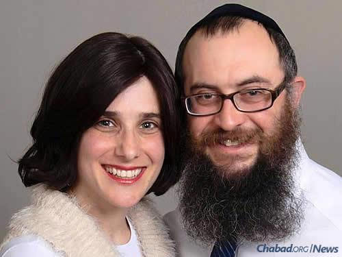 Rabbi Mendel and Esther Lifshitz welcome students and their families to their home.