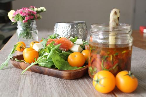 Rocket (Arugula) Salad with Lox and Fresh Mozzarella