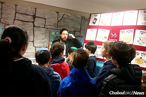 Children in Antwerp, Belgium, learn about Passover in advance of the holiday.