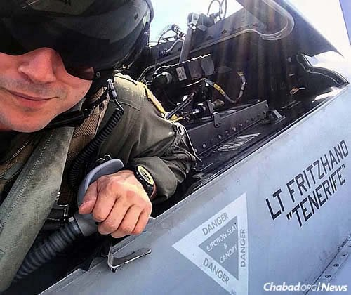 "Fritzhand, 33, is a weapon-systems officer: ""the backseater,"" he says, in fighter jets."
