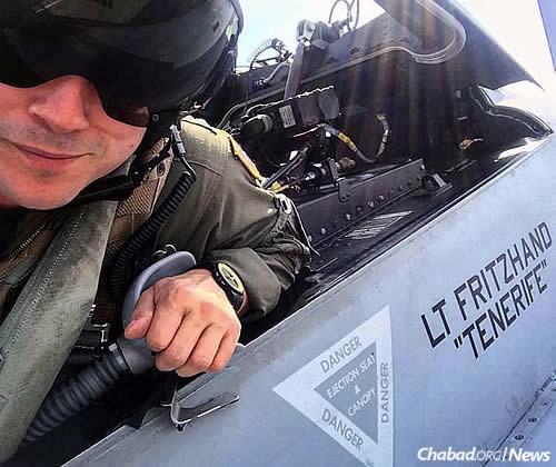 """Fritzhand, 33, is a weapon-systems officer: """"the backseater,"""" he says, in fighter jets."""
