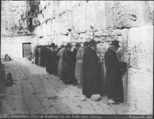 Jews pray at the Kotel in 1870.