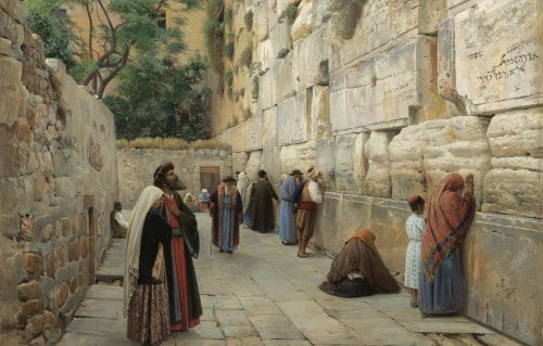 For generations the Kotel, the supporting wall of the Temple Mount in Jerusalem, has been the spiritual center of the Jewish nation. (Painting by Gustav Bauernfeind)