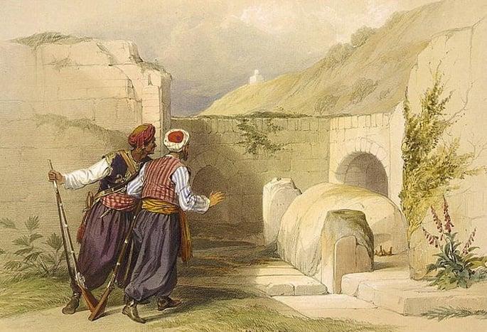 Túmulo de Yossef, por David Roberts, 1839.