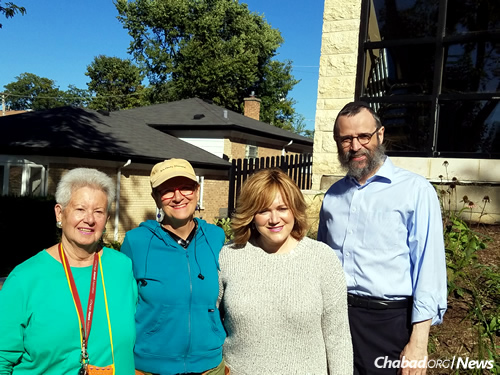 From left: Author and garden contributor Charlotte Adelman; Monica Buckley, owner of Red Stem Native Landscapes, Inc.; and Rivke and Rabbi Dovid Flinkenstein, co-directors of Chabad in Wilmette (Photo: Chicago Jewish News)