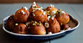 Doughnuts with Feta, Honey and Pistachios