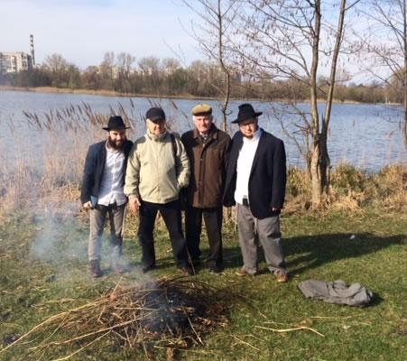Burning the Chametz in Shostka, Ukraine.