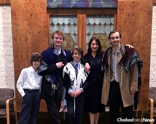 Millstone with her four nephews—Aidan, Ethan, Noah and Liam—now 18, 16, 14 and 12. While her father passed away before he could see his grandsons become bar mitzvah age, his legacy lives on through them today.