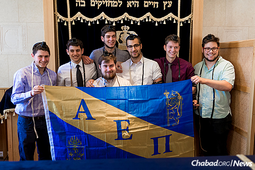 The bar mitzvah boys and AEPi members with friends. (Photo: Jewish Heritage Center)