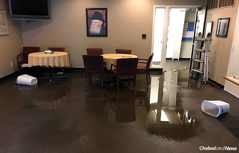 Five inches of water filled the Chabad House Center of Kansas City in Overland Park after a storm left the area in a state of emergency.