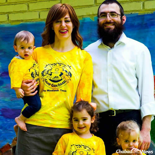 Rabbi Mendel and Leah Blecher, co-directors of Chabad of The Woodlands, and family