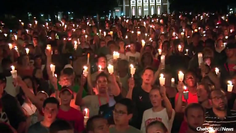 Thousands gathered in a show of peace and solidarity on Wednesday night following days of tension after a rally in Charlottesville, Va., spearheaded by hate groups over the weekend, resulted in street violence and the death of a young woman. (Photo: WJLA-TV)