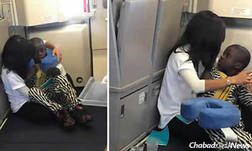 Photographs of Rochel Groner helping a child with autism on a transatlantic flight went viral on Facebook.