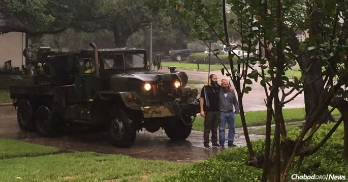Tomer and Mishiko, two Chassidic friends from Houston, used a salvaged U.S. Army vehicle to save lives during flooding from Harvey.