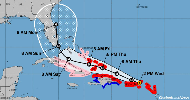 The official forecast as of Wednesday at 2 p.m. shows Irma making landfall in the United States near Miami on Sunday morning, when it's then expected to move up the eastern coast of Florida. (Image: NOAA)